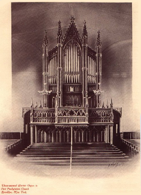 Hall & Labagh organ case (1849) in First Presbyterian Church - Brooklyn, NY