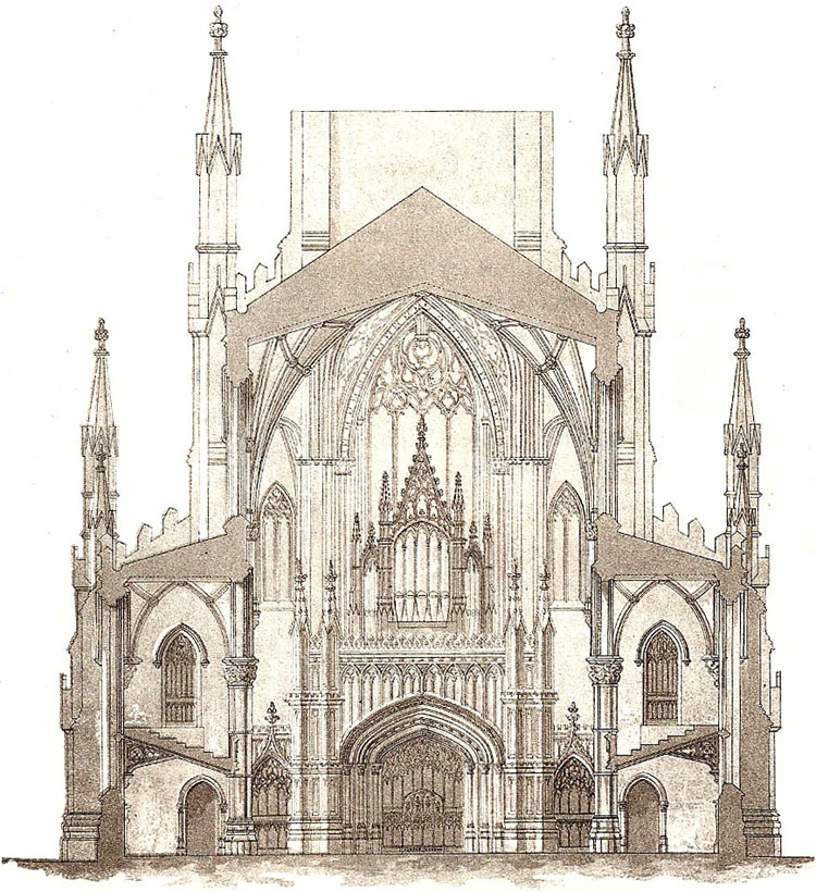 1860 Watercolor by Minard Lafever showing design of Henry Crabb Organ Case at Holy Trinity Episcopal Church - Brooklyn Heights, New York