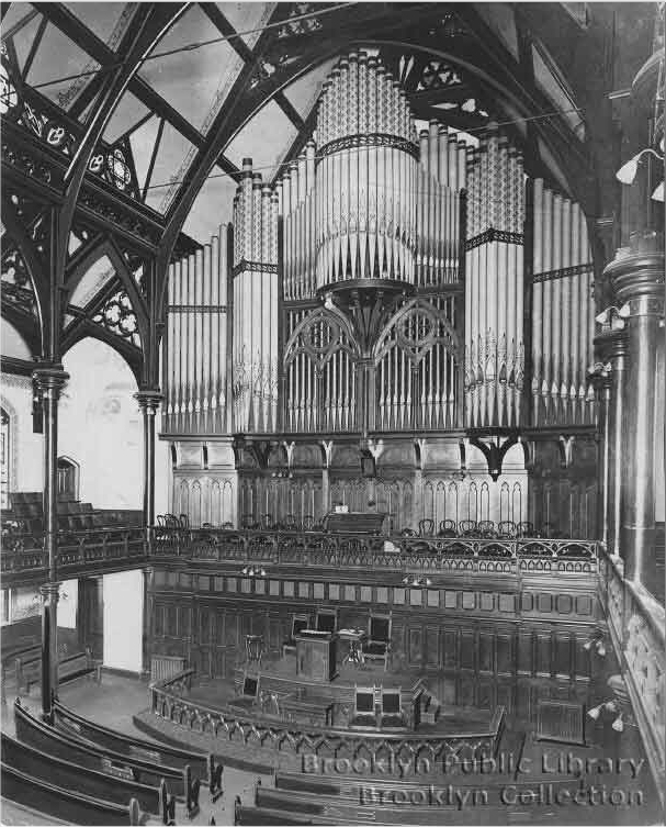 Kimball Organ, ca. 1894, at Jane's Methodist Episcopal Church - Brooklyn (photo: Brooklyn Public Library, Brooklyn Collection)
