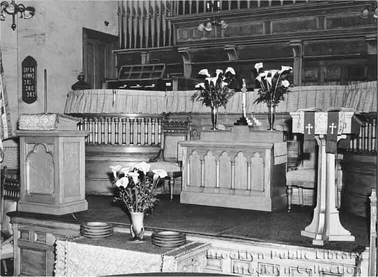 Austin Organ, Op. 303 (1910) in Nostrand Avenue Methodist Episcopal Church - Brooklyn, N.Y. (photo: Brooklyn Eagle (April 7, 1930); Brooklyn Public Library, Brooklyn Collection)