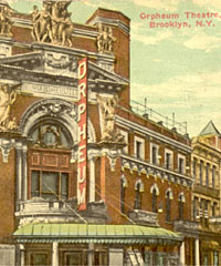 Vintage postcard of the Orpheum Theatre - Brooklyn, N.Y. (courtesy Central de Libros Antiguos)