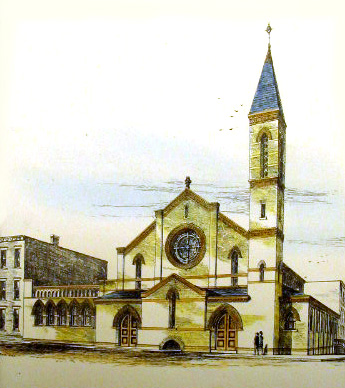 Pilgrim Chapel (Congregational) - Brooklyn, NY (drawing by J. Cleveland Cady)