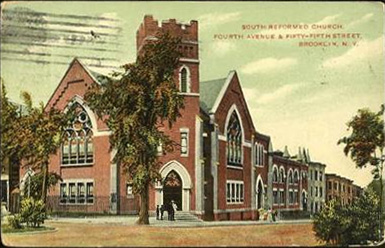 1908 postcard of the South Reformed Church - Brooklyn, NY