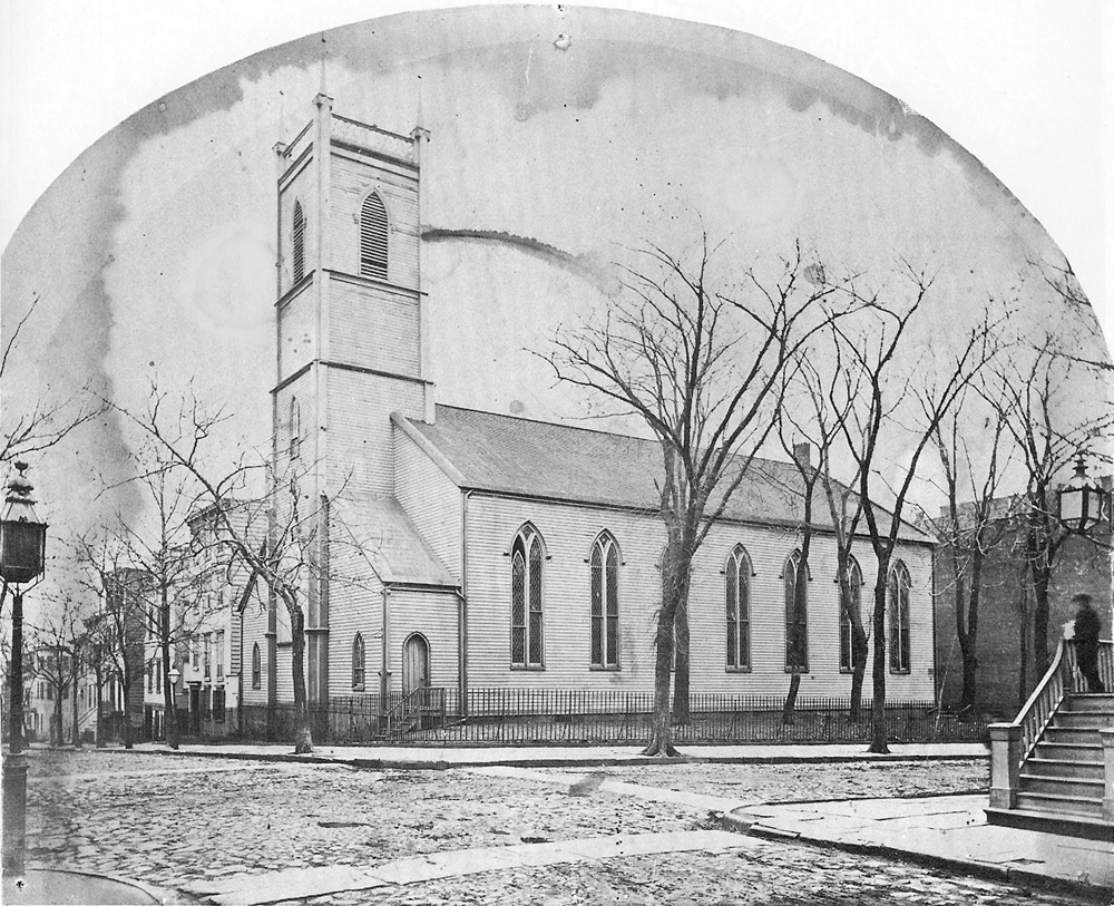 1866 view of St. John's Episcopal Chapel at Washington & Johnson Streets - Brooklyn, NY