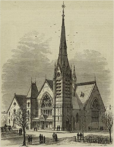 1876 engraving of the first Tompkins Avenue Congregational Church - Brooklyn, NY