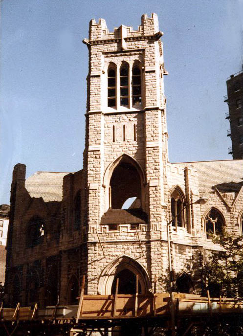 Demolition in 1979 of All Angels Episcopal Church - New York City
