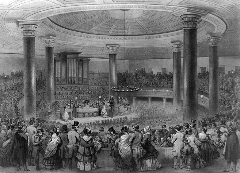 1848 Lithograph of the first Broadway Tabernacle - New York City