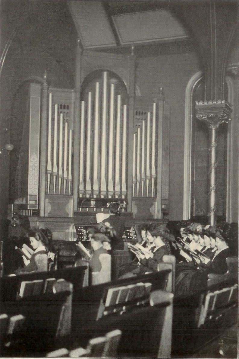 Choir Rehearsal showing 1887 Hutchings Organ, ca. 1900, at Church of the Covenant (Presbyterian) - New York City (photo: Brick Presbyterian Church)