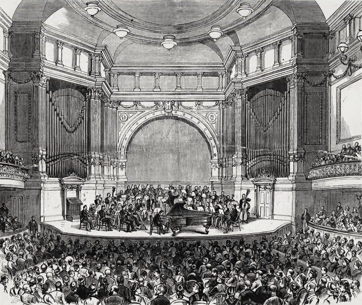 Opening night with Hans von Bülow and Leopold Damrosch's orchestra - Chickering Hall, New York City (NYPL)