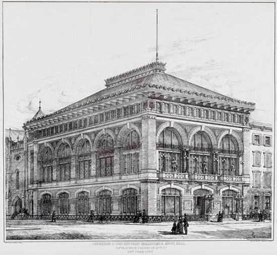 Chickering Hall - New York City. 1880 Photolithograph by Rockwood, N.Y. (MCNY)