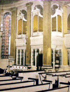 Pre-1956 interior of Corpus Christi Catholic Church - New York City (architect's drawing)