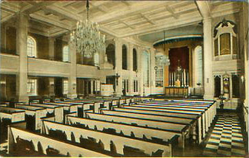 Pre-1956 interior of Corpus Christi Catholic Church - New York City (undated postcard)