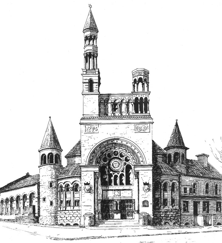 Drawing (c.1893) of First Baptist Church - New York City
