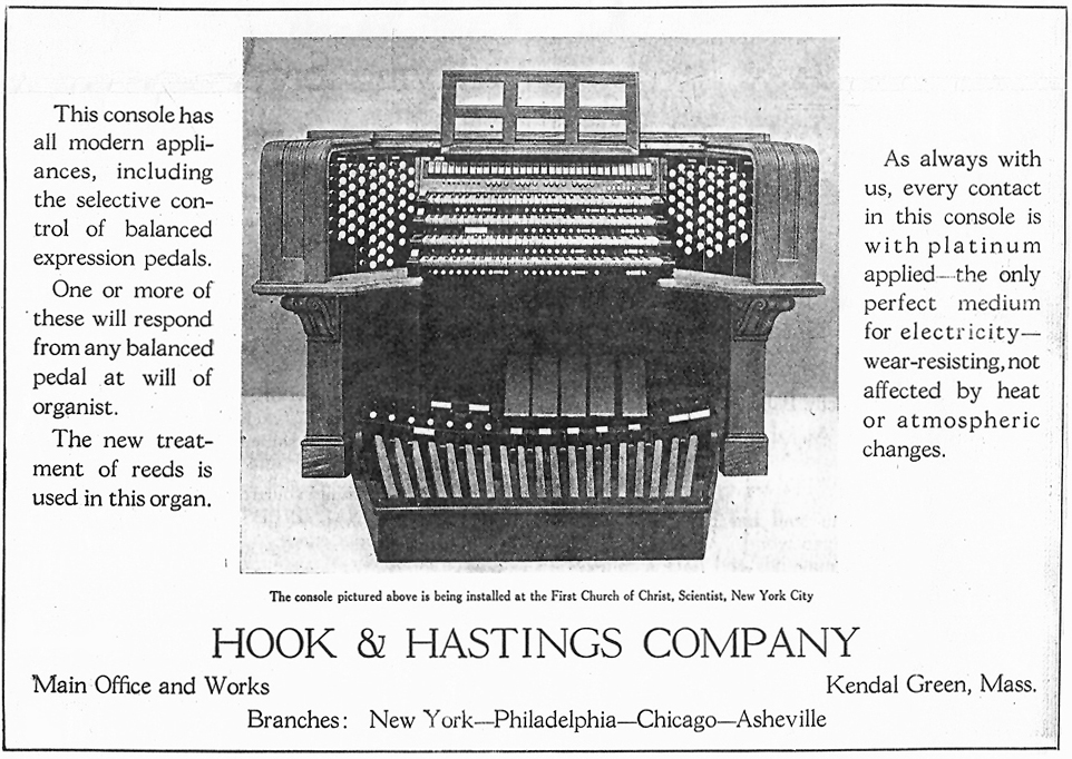 1930 Hook & Hastings console - First Church of Christ, Scientist - New York City (The Diapason, Apr. 1930)