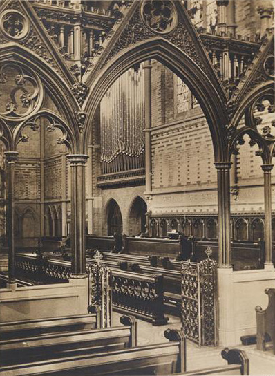 1889 photo of the Frank Roosevelt organ, Op. 385 (1887) in the Chapel of the Good Shepherd (1886) at The General Theological Seminary - New York City (photo: MCNY)