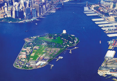 Aerial View of Governors Island, New York City