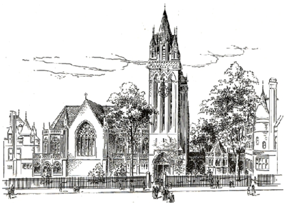 Drawing (ca.1899) of the Episcopal Church of the Holy Trinity on East 88th Street (Barney & Chapman, architects) - New York City