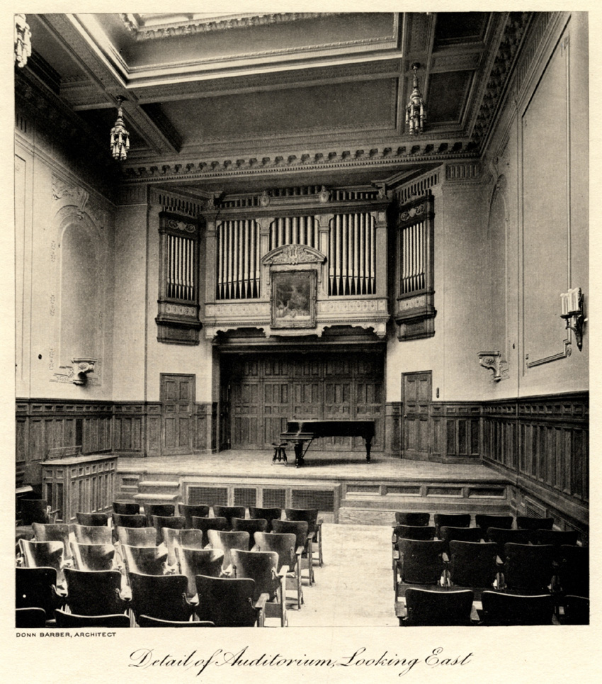 Estey Organ, Op. 806 (1910) in Auditorium of the Institute of Musical Art - New York City (The New York Architect, Sept. 1910; couresy Juilliard School Archives)