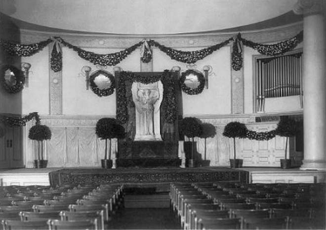 Mendelssohn Hall in New York City prepared for Memorial Service of Augustus Saint Gaudens (Feb. 29, 1908)