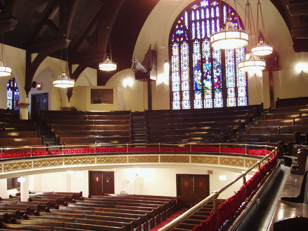 Rear Gallery showing Trompete de Fete of Wicks Organ, Op. 5565 (1976) in the Mother A.M.E. Zion Church - New York City (photo: Steven E. Lawson)