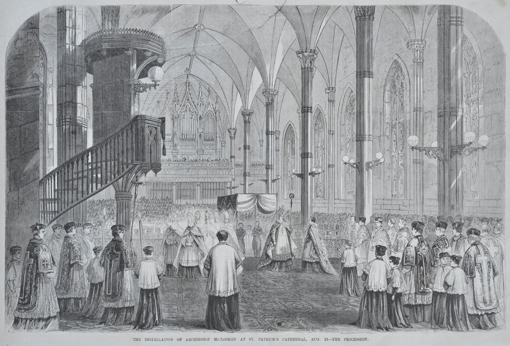nstallation of Archbishop McCloskey showing 1852 Henry Erben organ at Old St. Patrick's Cathedral - New York City
