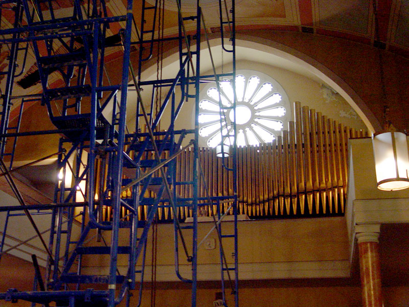 Pipe facade of Aeolian Organ in Our Lady of Vilnius Catholic Church - New York City