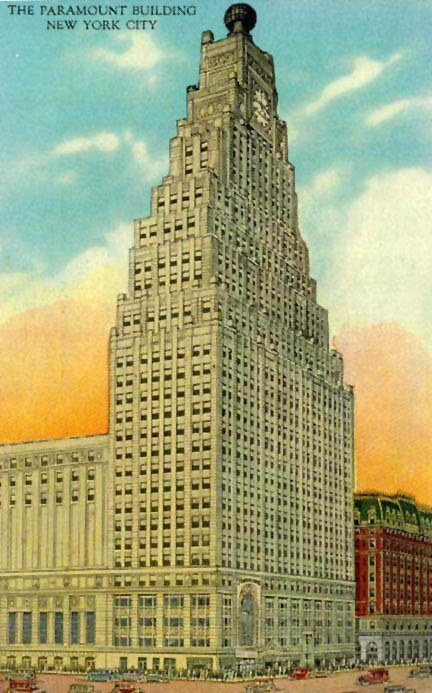 Paramount Building and Theatre - New York City (undated postcard)