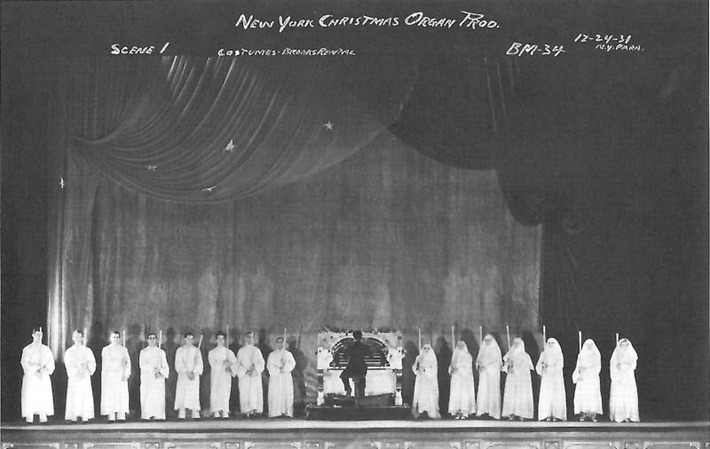 1931 Christmas Production showing the slave console of Wurlitzer Organ, Op. 1458 (1926) in the Paramount Theatre - New York City