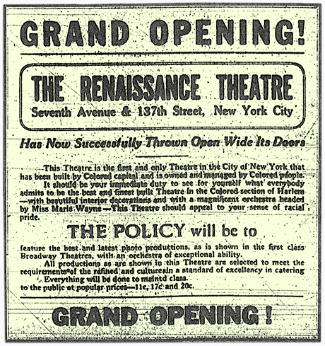 Grand Opening Ad for the Renaissance Theatre - Harlem, New York City