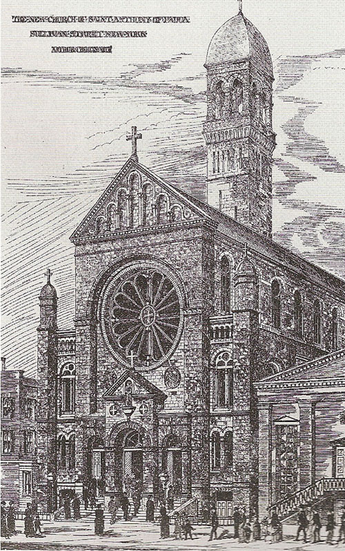 St. Anthony of Padua Catholic Church - New York City (1886 Drawing)
