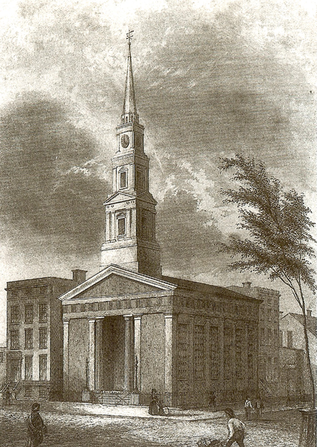 St. Bartholomew's Episcopal Church, located from 1835-1872 on Lafayette Place and Great Jones Street - New York City