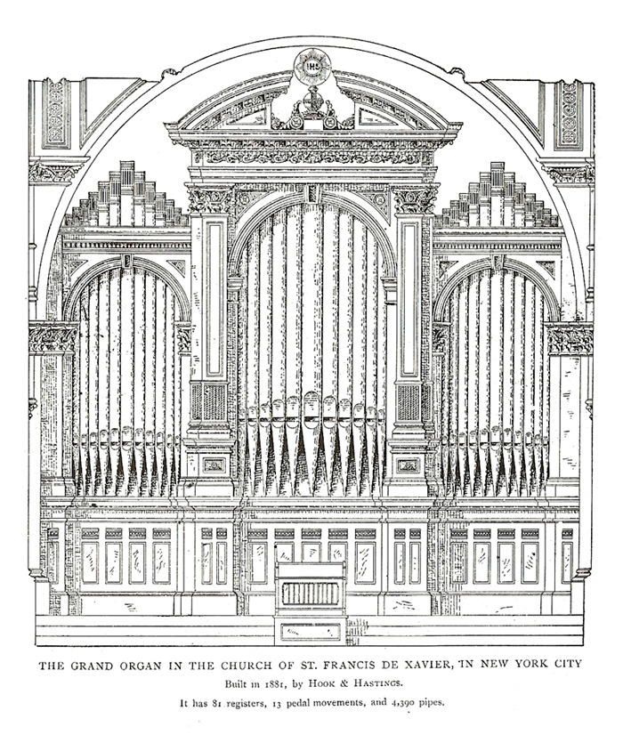 Case of E. & G.G. Hook & Hastings organ, Op. 1022 (1881) formerly at the Church of St. Francis Xavier - New York City