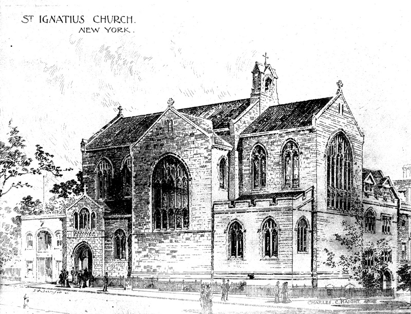 Episcopal Church of St. Ignatius of Antioch - New York City (drawing on linen by Charles C. Haight, architect)