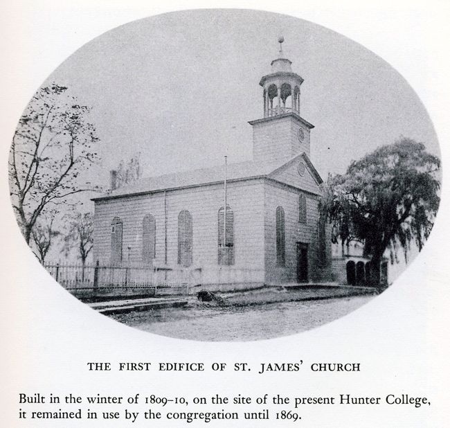 The first (1810-1869) St. James Episcopal Church - Hamilton Square, New York City