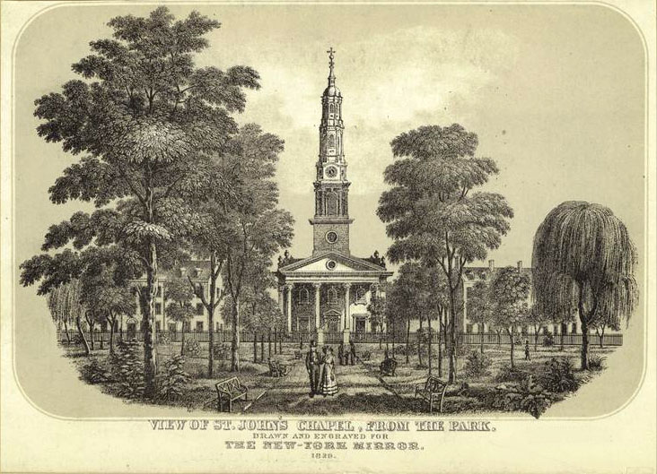 St. John's Chapel (Trinity Parish) and park - New York City (1829 engraving in New York Mirror)