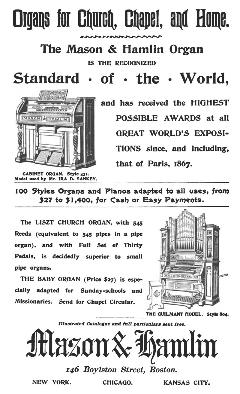 Advertisement for Mason & Hamlin Style 804 Reed Organ