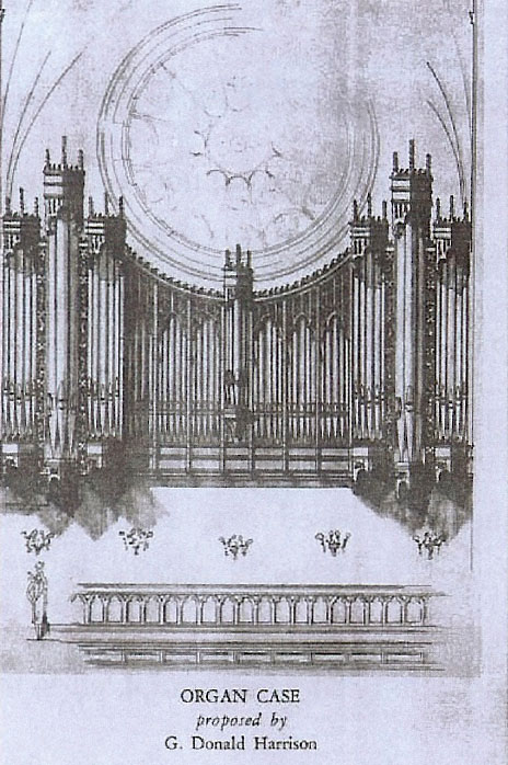 Proposed case by G. Donald Harrison for Aeolian-Skinner Organ, Op. 891 (1932) in St. Mary the Virgin - New York City