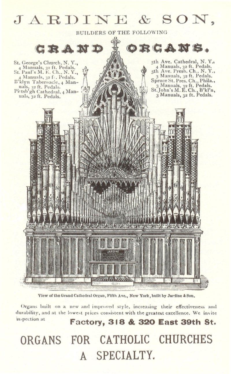 1883 Advertisement for Jardine & Son Organbuilders, featuring their 1879 organ at St. Patrick's Cathedral - New York City