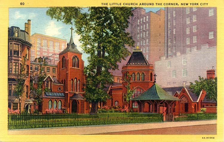 "1947 Postcard of the Episcopal Church of the Transfiguration (""Little Church Around the Corner"") - New York City"