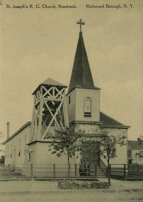 Undated Postcard of 1902 building for St. Joseph's Catholic Church - Rosebank, Staten Island, NY