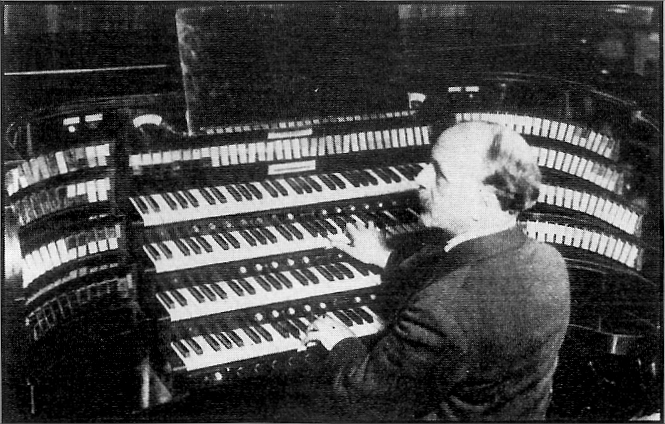 French organist Louis Vierne at the console of the Wanamaker Auditorium Organ, February 1927 (courtesy Friends of the Wanamaker Organ - www.wanamakerorgan.com)